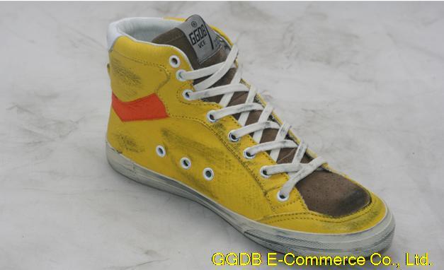 2015 Italian Brand Golden Goose GGDB Superstar High Top Genuine Leather Sneakers Men Women Yellow Manual Shoes Uomo Scarpe Donna<br><br>Aliexpress