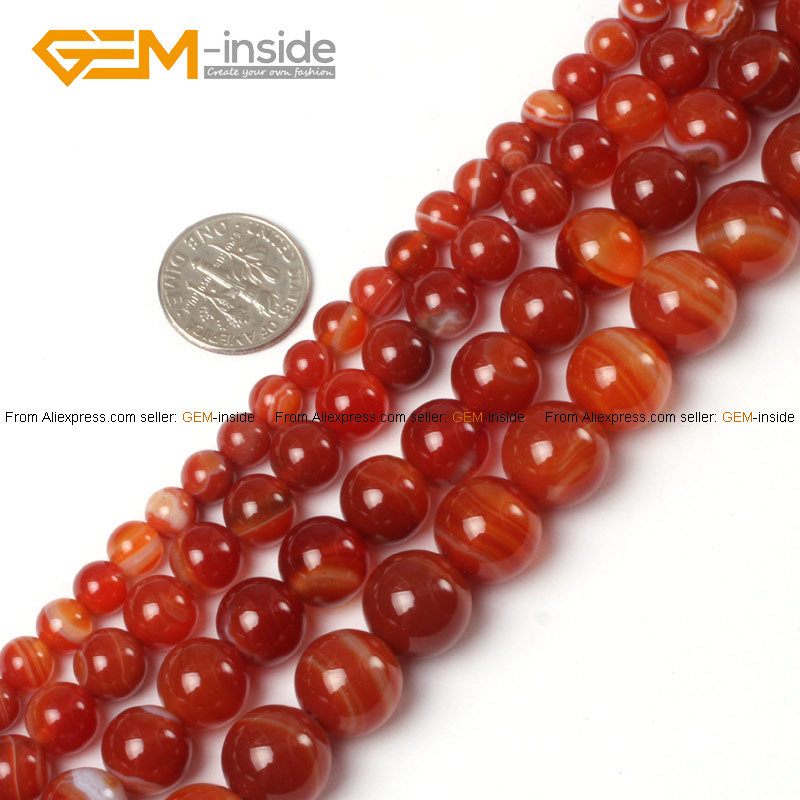 Banded Red Agate Round Round Selectable Size Natur...