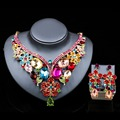 Lan palace Glass african beads bridal jewelry set gold plated necklace and earrings jewelry sets for