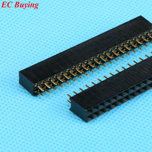 100pcs/lot 2.54mm Double Row Female 20P Straight Header Pitch Socket Strip 2X20 Pin(China (Mainland))