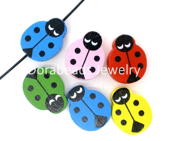 Free Shipping! 100 Randomly Mixed Painted Ladybug Wood Spacer Beads Findings 19x15mm (B05727)(China (Mainland))