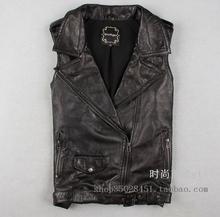 2014 new women  lapel  Badges Belt Slim genuine sheepskin leather Vest short motorcycle Vest FMP165 Y2W (China (Mainland))