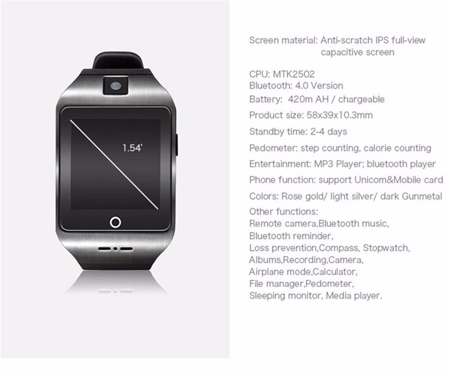Q18 apro I8S Smart Watch Bluetooth Support SIM TF Card Pedometer Fitness Monitor Wristwatch For IPHONE Android Smartphone