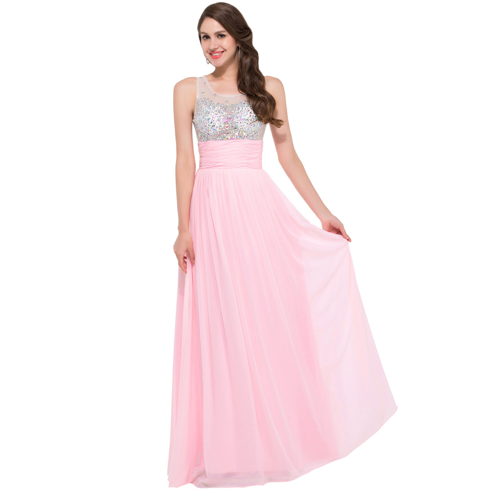 Grace Karin Beaded Blue Long Evening Dress 2016 Elegant Formal gowns Dresses robe de soiree longue 6110 - Angel Shadow store
