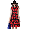 2016 New Plus Size Women Spring Summer Sexy Elegant Slim Midi Big Hemline Printed O Neck
