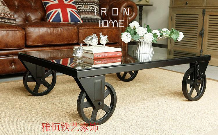 American retro iron glass coffee table small tea table do creative movement retro old wood table coffee table(China (Mainland))