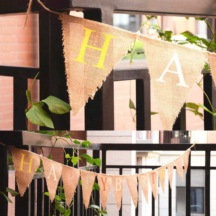 Diy home decoration banner vintage jute hessian burlap bunting happy birthday banner party Home decoration with jute