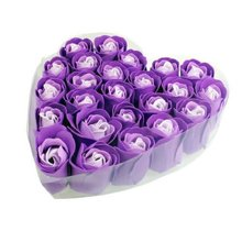 24 Pcs Purple Scented Bath Soap Rose Soap flower Petal in Heart Box For Wedding(China (Mainland))