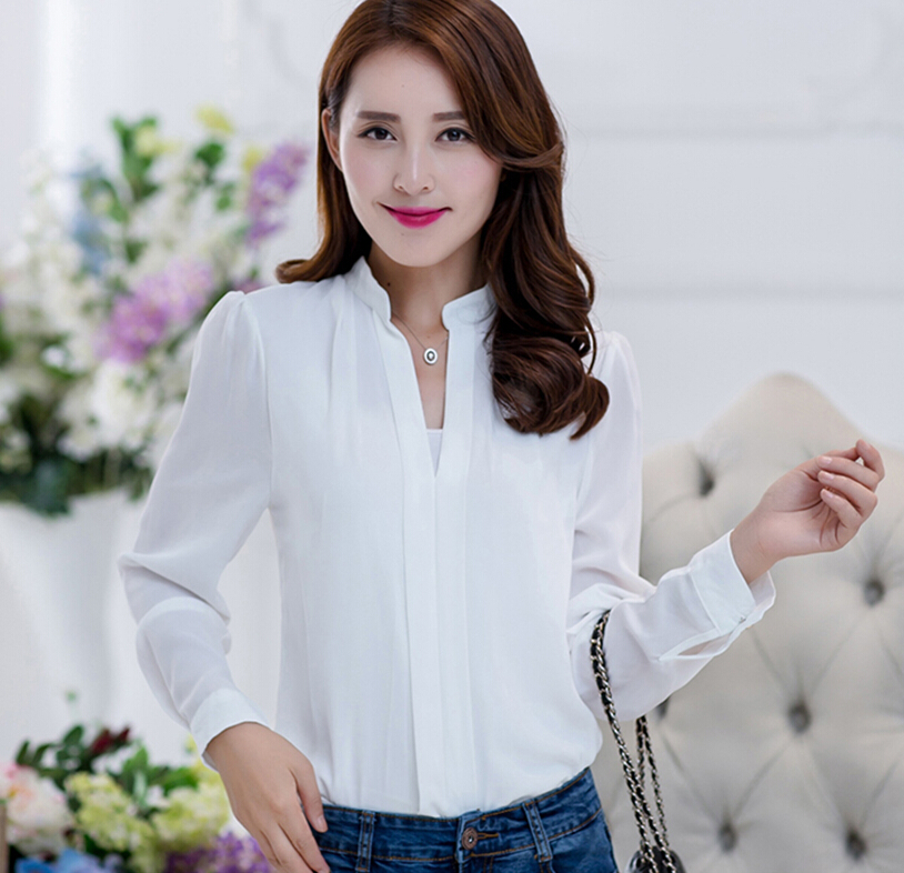 Popular 2016 White Shirt Women Rose Floral Embroidery Blouse Ladies Office