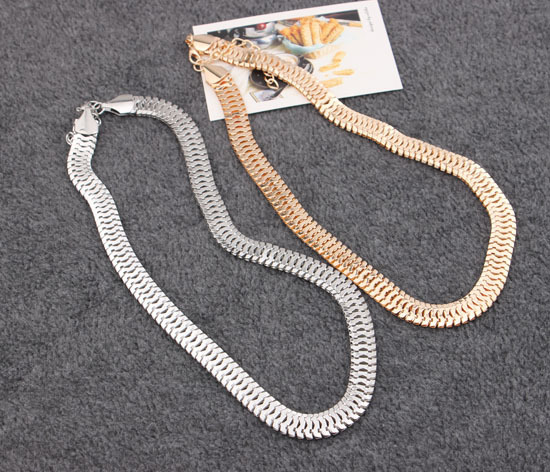 Celebrity Favorited fashionable Luxury Gold Silver Color Alloy Link Chain Shape Concise Punk Style Snake Chocker Necklace - L-Beauty store