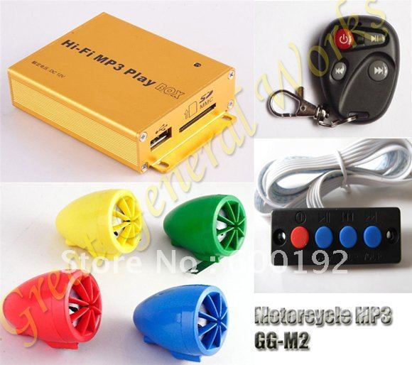 No. 1 Quality Anti-theft & Waterproof Motor MP3 Player Speaker With 100 Meters Remote Control Alarm System Free Shipping