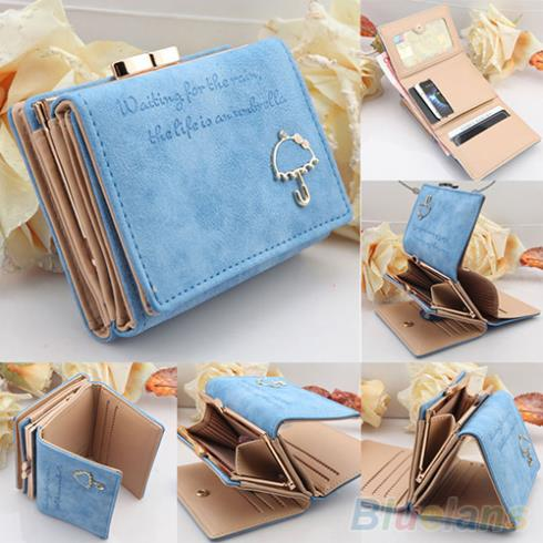 Women Umbrella Faux Leather Clutch Trifold Wallet Credit Card Coin ID Case Holder  1PVC 1VLJ(China (Mainland))