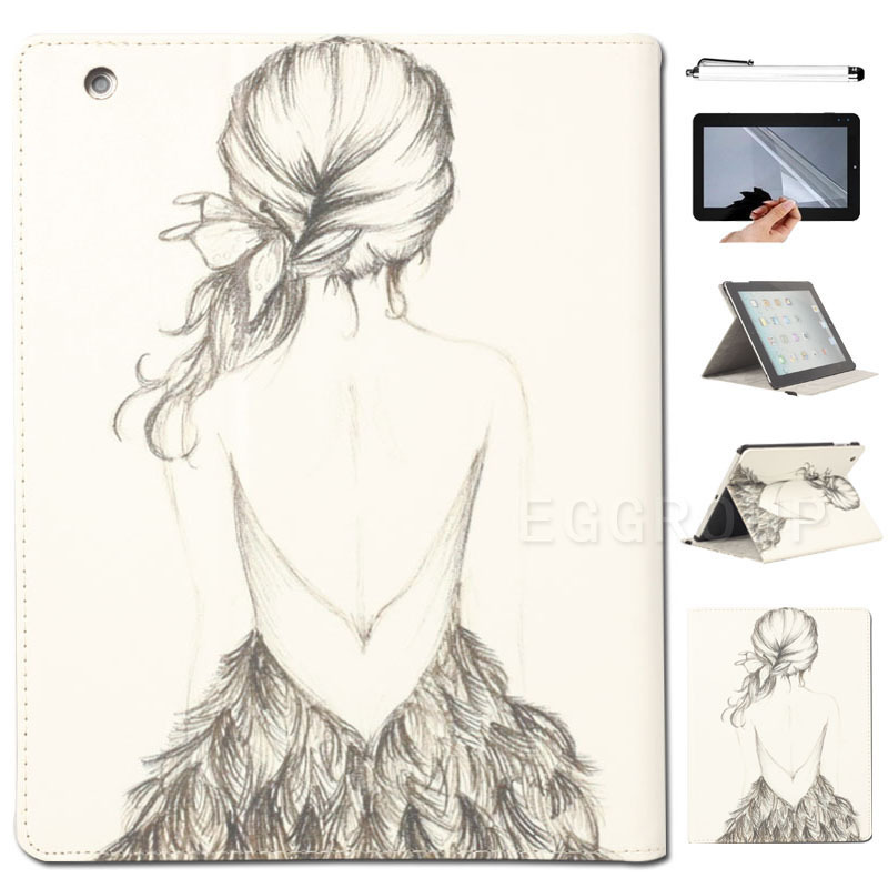 2015 New Cute Cartoon Girl PU Stand Cover Folding Folio Case iPad 2/3/4/Air 5th/Mini+FREE GIFT - Eagwell Official Store store