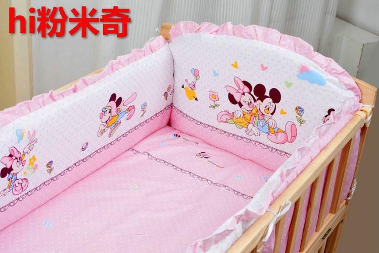 Фотография Promotion! 10PCS Bear Character Baby Cot Crib Bedding Set Cotton Baby Bedclothes (bumper+matress+pillow+duvet)