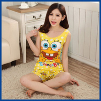 2015 Summer New Women's SpongeBob Home Wear Robes Breathable Sleepwear Two-Piece Vest And Shorts Pajamas Sets Free Shipping