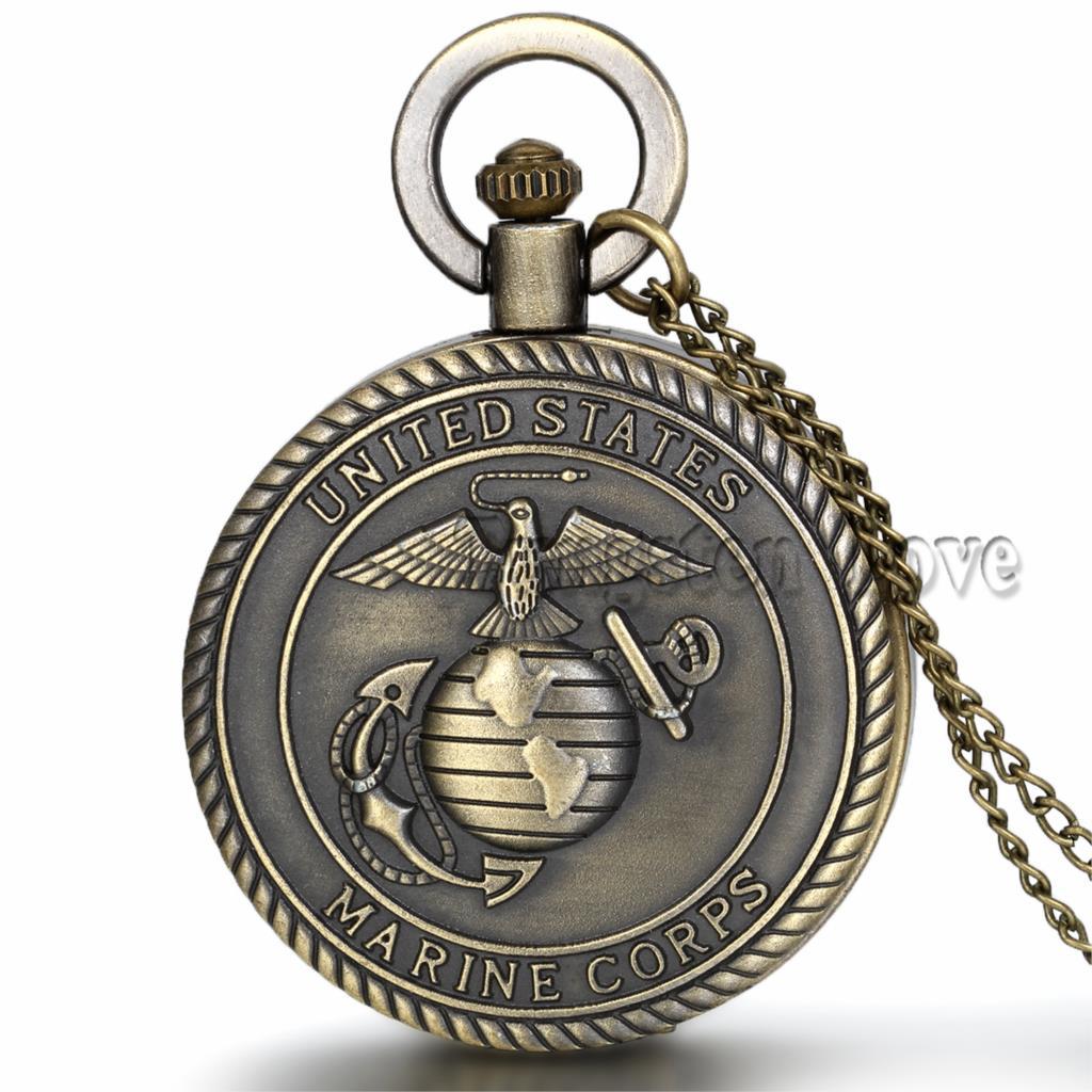 New Steampunk Vintage Men's Pocket Watch United States Marine Corps Retro Bronze Men Gift relogio de bolso 4.7cm(China (Mainland))