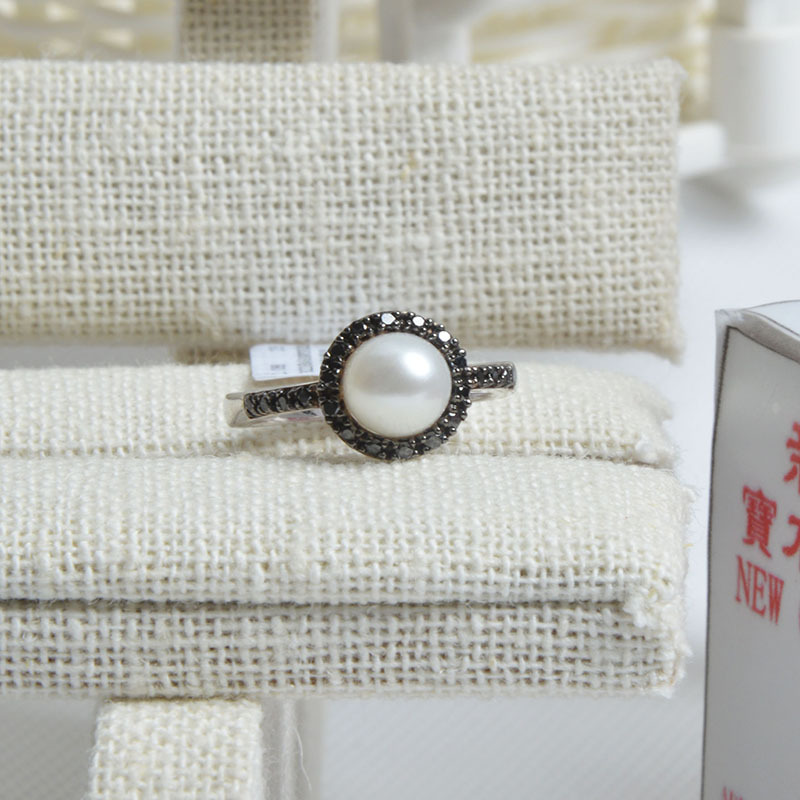 Natural freshwater pearls 925 silver inlay white freshwater pearl ring inlaid CZ jewelry simple white<br><br>Aliexpress