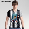 American style stripe creative hip hop big size short sleeve t shirt Summer new arrival high