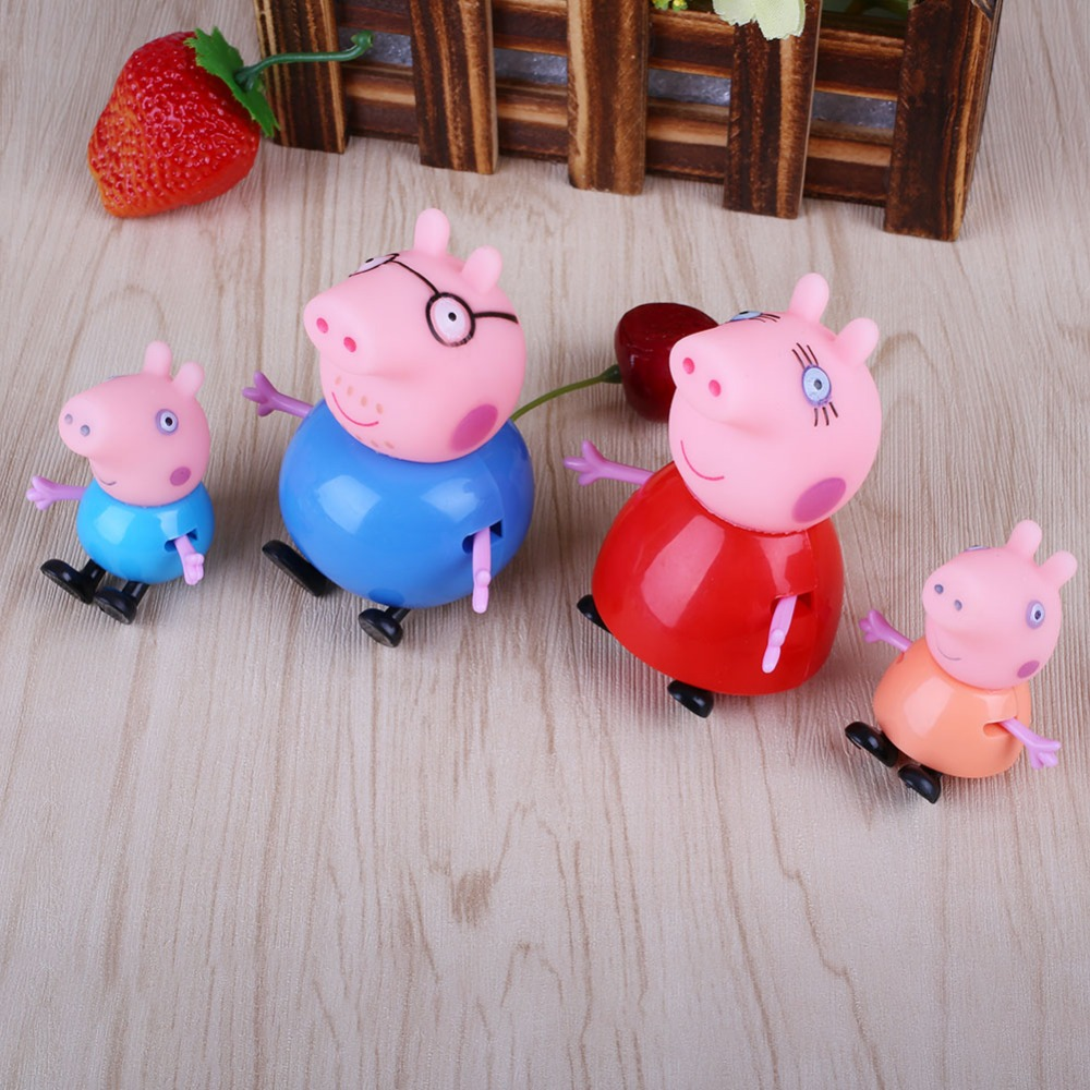 2016 Hot 4pcs Cartoon Pink Pig Family Dad Mom Figure Kids Child Lovely Animal Toys Set(China (Mainland))