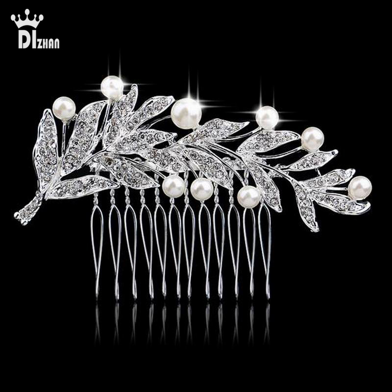 Imitation Pearl Clear Rhinestone Crystals Wedding Bride Bridal Floral Hair Comb Head Pieces Hair Pins Jewelry Accessories EW200(China (Mainland))