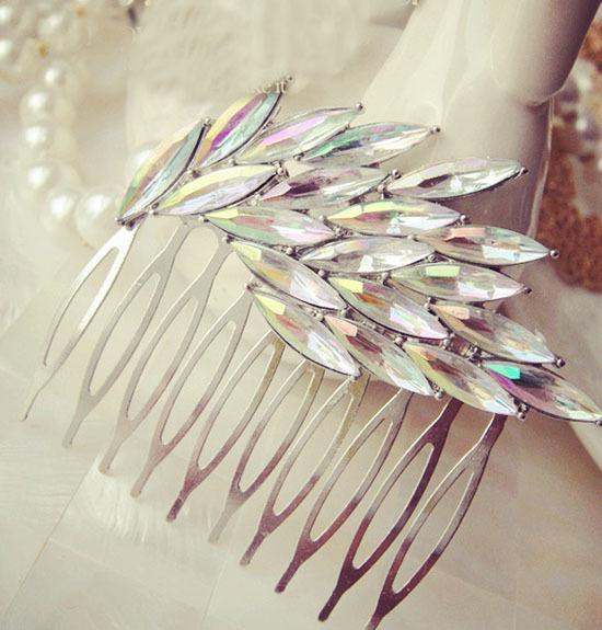 Fashion Luxury Flower Rhinestone women Hair Comb Jewelry Women Tuck Comb Headband Party Wedding Hair Accessories Bridal YF373(China (Mainland))