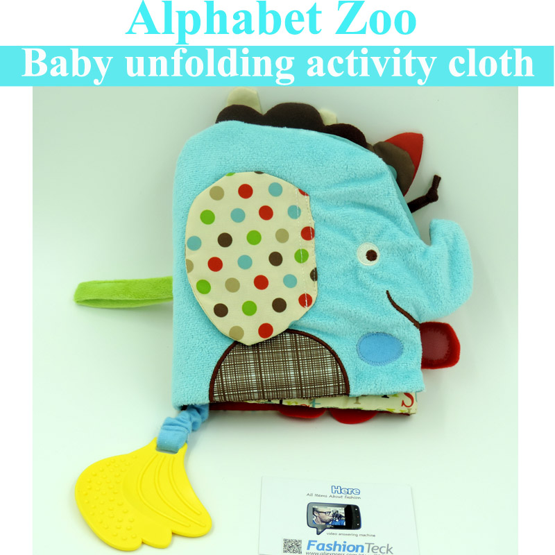Baby Soft Cloth Book Animal Infant Toy Elephant Books Alphabet Knowledge Colorful Lalababy Washable unfolding activity book - FashionTeck Trading Co.,Ltd store