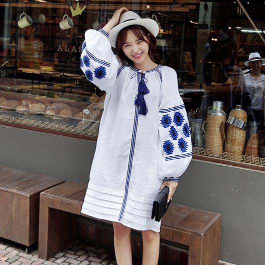 Этнические вышивки женщин старинные богемный boho хиппи одежда платье синий вышитые ...
