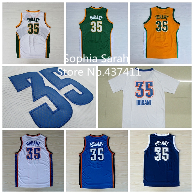 Oklahoma City 35 Kevin Durant White Blue Jersey,Seattle Sonics 35 Kevin Durant White Green Yellow Rev 30 Jersey,Embroidery Logos(China (Mainland))