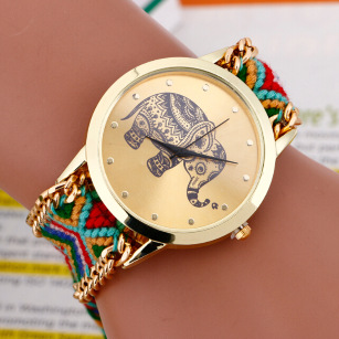 New 2015 Fashion casual DIY Elephant Pattern Women Dress Watches National Weave Gold Bracelet montre