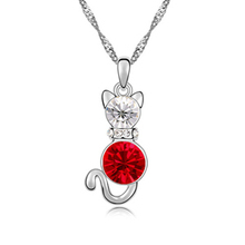 2015 Crystal Lafite Cat Pendant Necklace Made With Swarovski Elements Women Children Jewelry