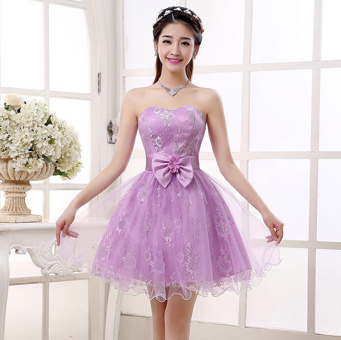 short design elegant lavender tulle puffy dress lilac prom dresses 2016 ball gown $50 S3399 - I And You Story store