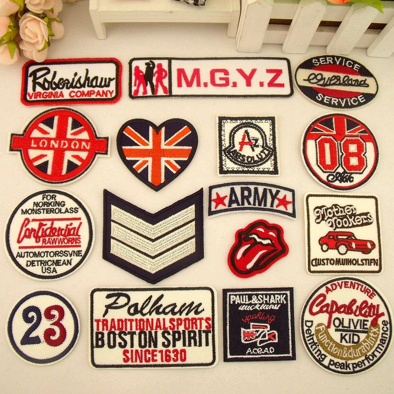 Stickers affixed cloth badge patch denim dress pants decorative decals affixed cloth embroidered applique British style boutique(China (Mainland))