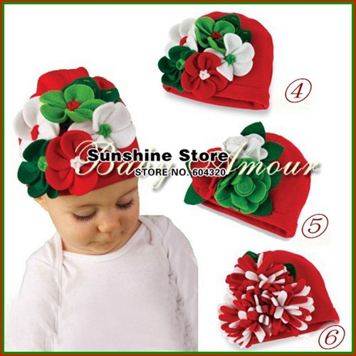 baby Christmas hats for girls big kids felt nino wool flower red cotton children cheap beanies cap #2B1507 10 pcs/lot(3 styles)