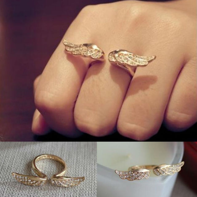 18k Gold Plated Alloy Unique Punk Gothic Angel Wings RingS Full Crystal Rhinestone Animal Ring Jewelry Wholesale 12pcs B10R1
