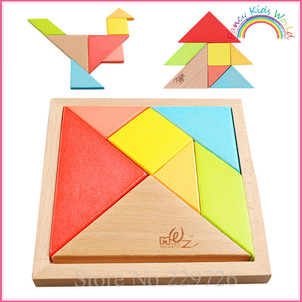 Beech Wood Tangram Chinese Puzzle educational toys for kids and children free shipping