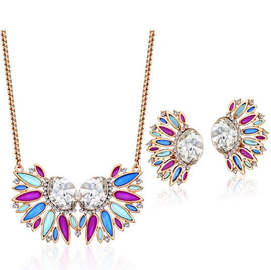 2015 Hot Sale Aliexpress Neoglory Rhinestone Multi Gole Plated Round Fashion Trendy Party Fine Jewelry Sets for Women Jewelry(China (Mainland))