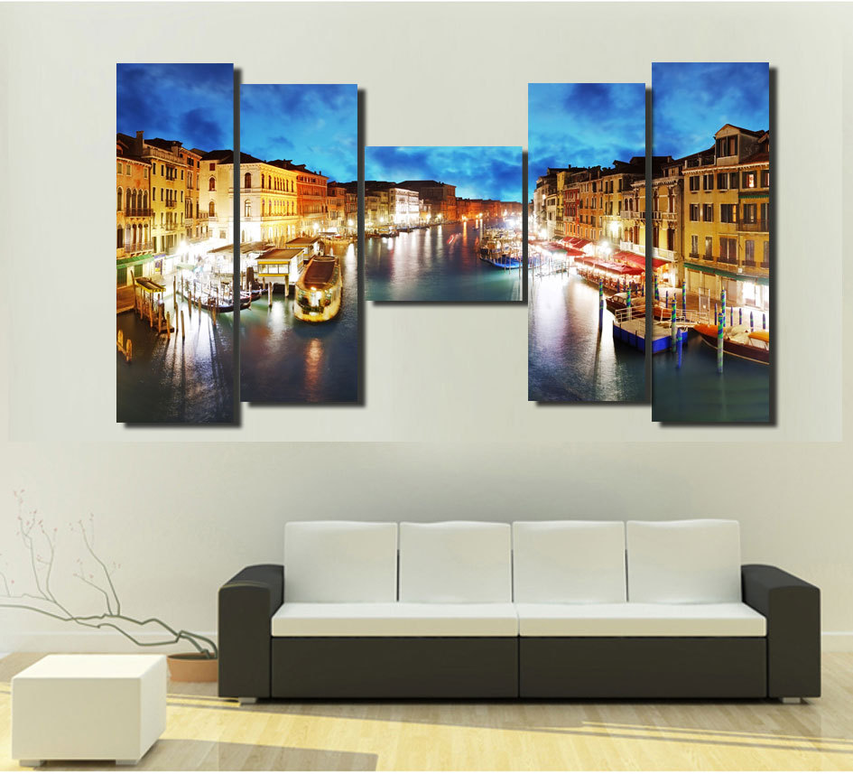 original home decor hd print landscape art painting on canvas no frame venice night 5pc in. Black Bedroom Furniture Sets. Home Design Ideas