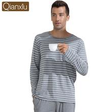 Qianxiu Pajamas  Modal Sleepwear O-neck Casual Stripe Lounge Wear Plus size Pajamas Set(China (Mainland))