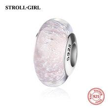StrollGirl sparkling Murano glass beads purple 925 silver charms fit original pandora bracelet diy jewelry making women gifts(China)