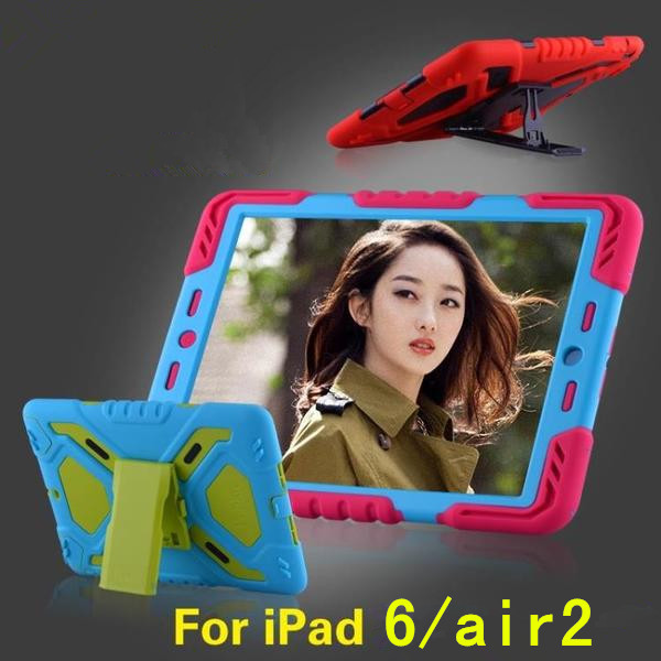 Cool Hot sale Pepkoo 3D Spider man Waterproof /ShockProof Stand Skinfor iPad 6 air 2 Tablet Cover soft Silicone case(China (Mainland))