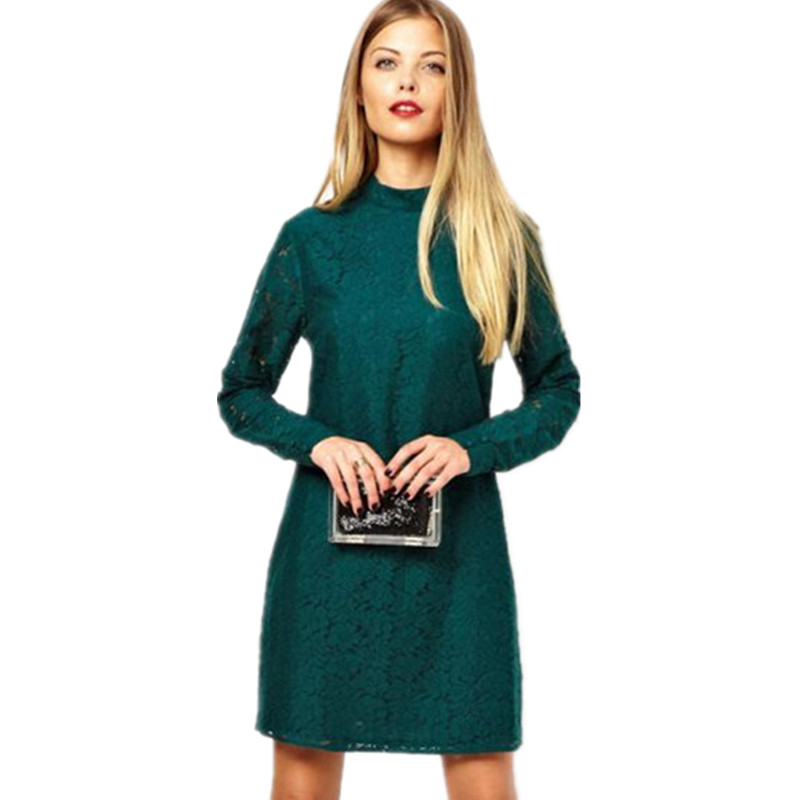 2015 new fashion cute women autumn winter dress long sleeve O neck t shirt mini sexy lace dresses plus size hollow out 3 color(China (Mainland))