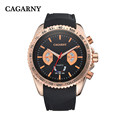 2016 New brand CAGARNY sports watch mens watch rubber strap quartz watch top brand luxury montre