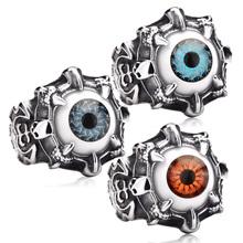 Super Vivid Eye Ring 316L Stainless Steel Fashion Biker Punk Ring Acrylic Eye BR8-036 US size(China (Mainland))