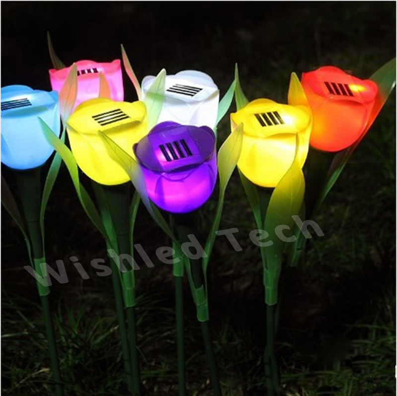 Solar Led Garden Light Tulip Outdoor Lighting Lamp Lawn Path Christmas Decoration Spot Lights Waterproof Stake - Wishled Tech store