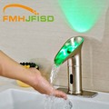 New Arrival Hot Sale Three Color Changing Bathroom Sense Faucets Brushed