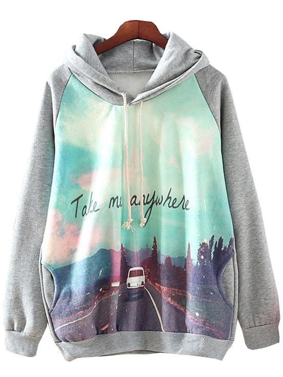 2015 Fall Fashion Grey Hood Jumper and Pullover Long Sleeve Car Print Pullovers Hot Top Women's Casual Hooded Sweatshirt Hoodies(China (Mainland))
