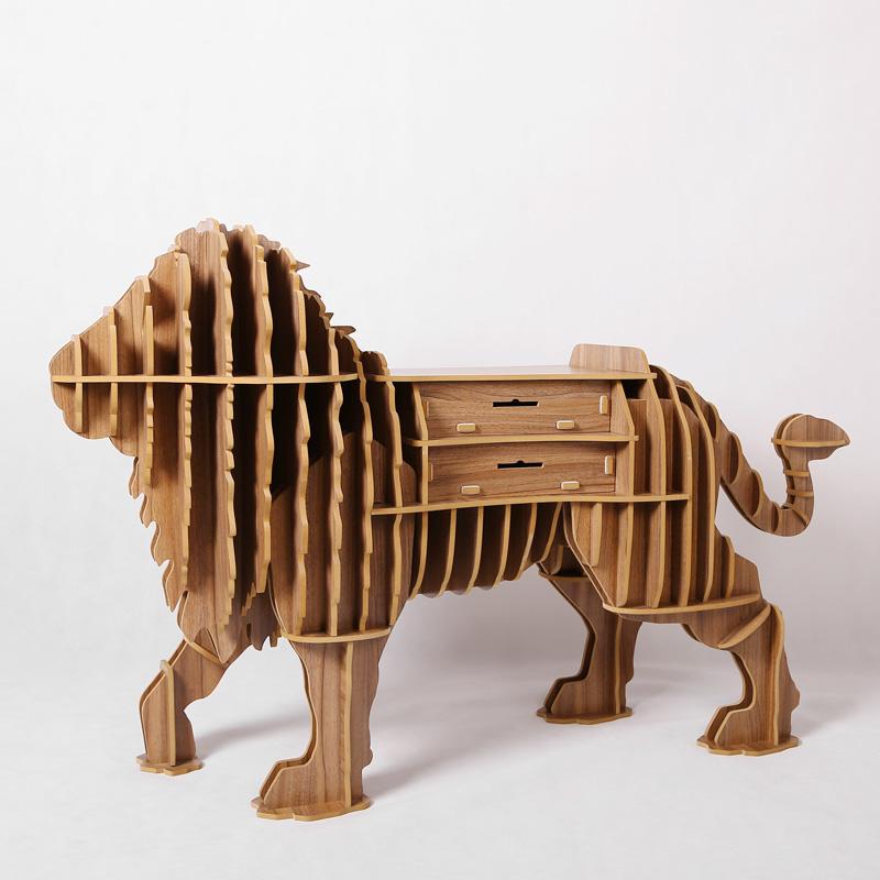 1 Set 40 63 Inch 2016 New Creative Wooden Animals Lion