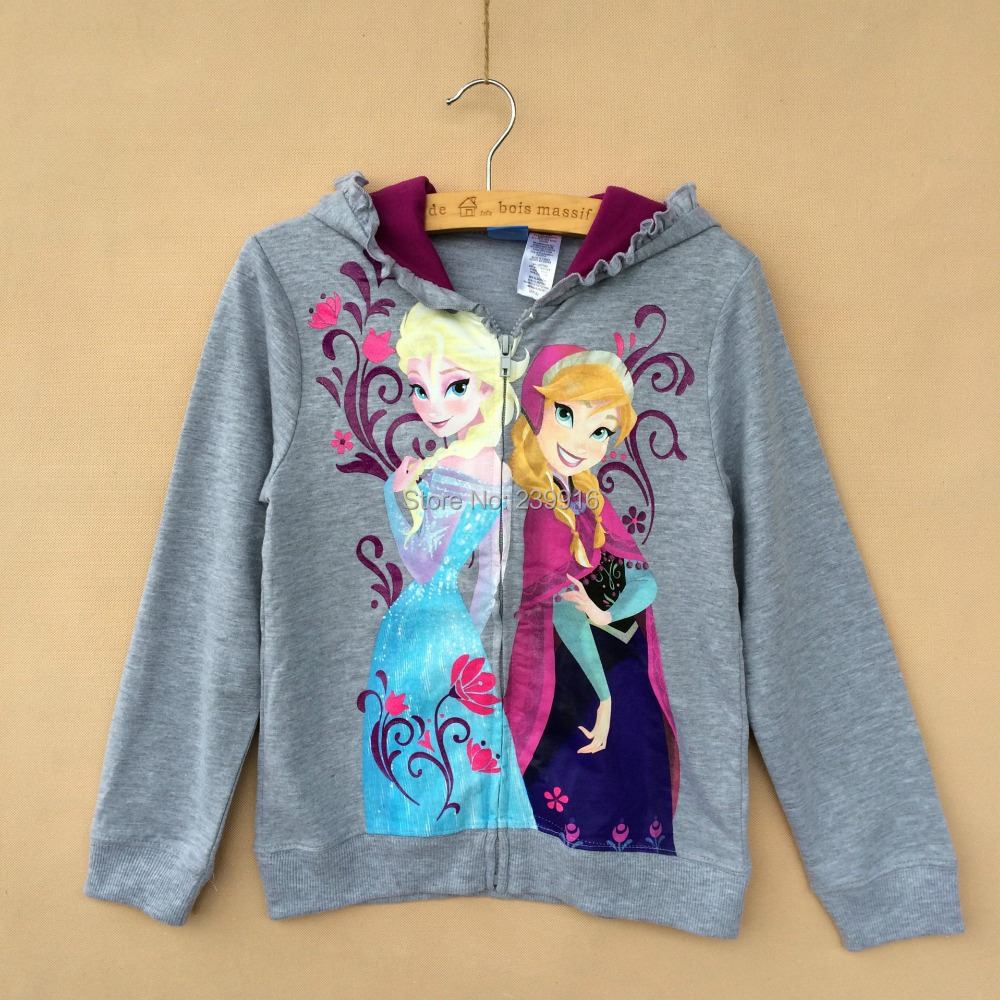 2014 New Autumn Winter Apring Frozen Annn Elsa Princess Zip Hoodie Outerwear Coat Jackets Kids Girls gray - Online Store 239916 store