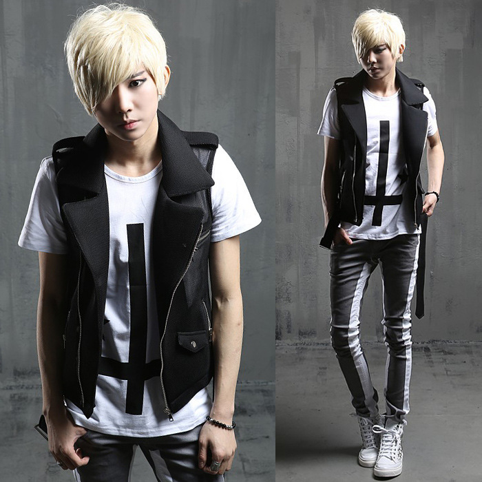 2017 Spring And Summer Metrosexual Mens Vest Korean Style Cultivating Cloth Costume Night