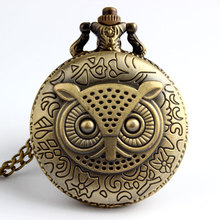 New Arrive Vintage Owl Steampunk Necklace Watch Pocket Watch Gift P02